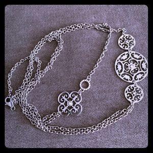 Sterling Silver crystals, filigree design necklace